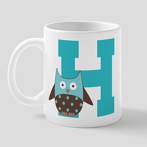 Letter H Monogram Initial Owl Mug