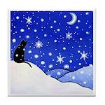 Black CAT Snowy Night ART Tile/Coaster