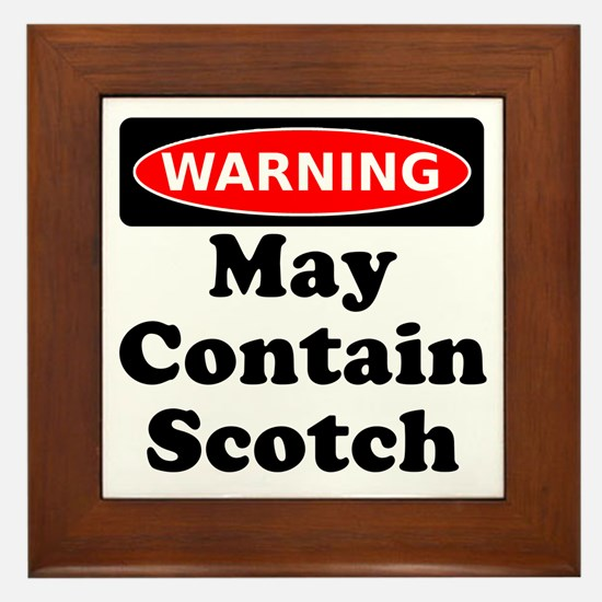 Warning May Contain Scotch Framed Tile