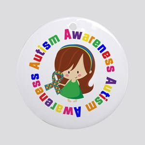 Autism Awareness Girl Ornament (Round)