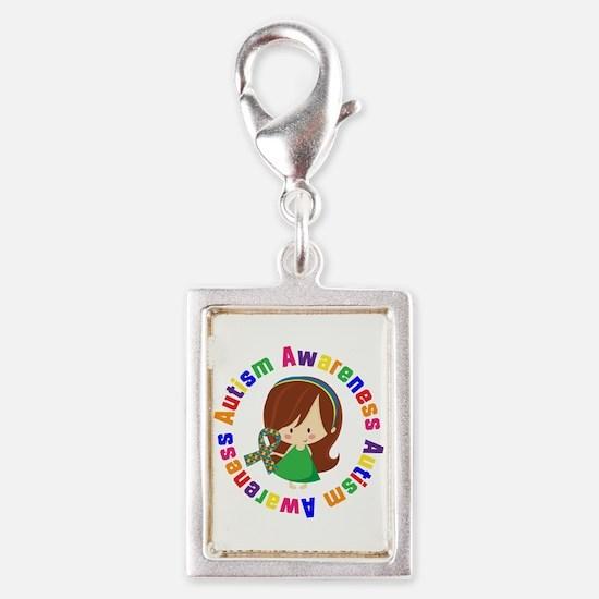 Autism Awareness Girl Silver Portrait Charm