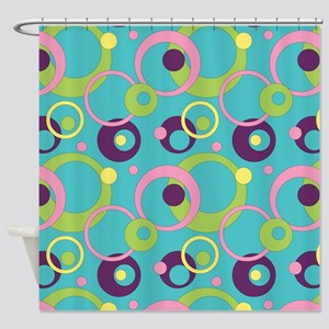 Funky Blue Circles Shower Curtain