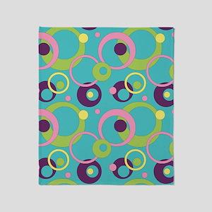 Funky Blue Circles Throw Blanket