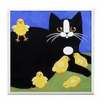 Gentle Black Tuxedo CAT & Chicks ART Tile/Coaster