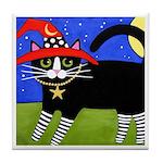 Black Tuxedo Witch CAT w/ RED Hat ART Tile Coaster