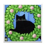 Black CAT on Wreath w Blue Door ART Tile Coaster