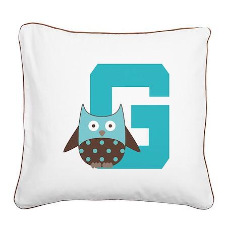 Letter G Monogram Initial Owl Square Canvas Pillow