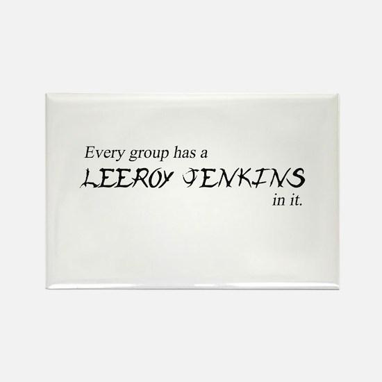 Leeroy Jenkins Group Rectangle Magnet