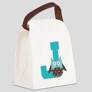 Letter J Monogram Initial Owl Canvas Lunch Bag