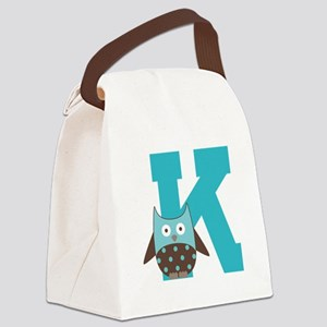 Letter K Monogram Initial Owl Canvas Lunch Bag
