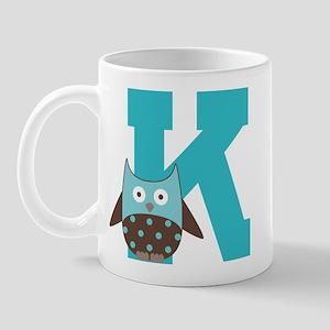 Letter K Monogram Initial Owl Mug