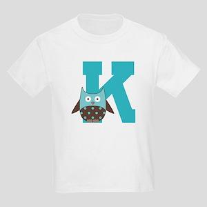 Letter K Monogram Initial Owl Kids Light T-Shirt