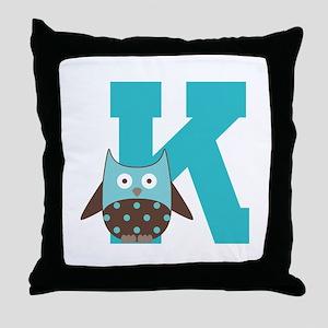 Letter K Monogram Initial Owl Throw Pillow