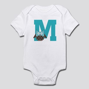 Letter M Monogram Initial Owl Infant Bodysuit