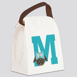 Letter M Monogram Initial Owl Canvas Lunch Bag