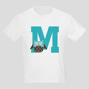 Letter M Monogram Initial Owl Kids Light T-Shirt