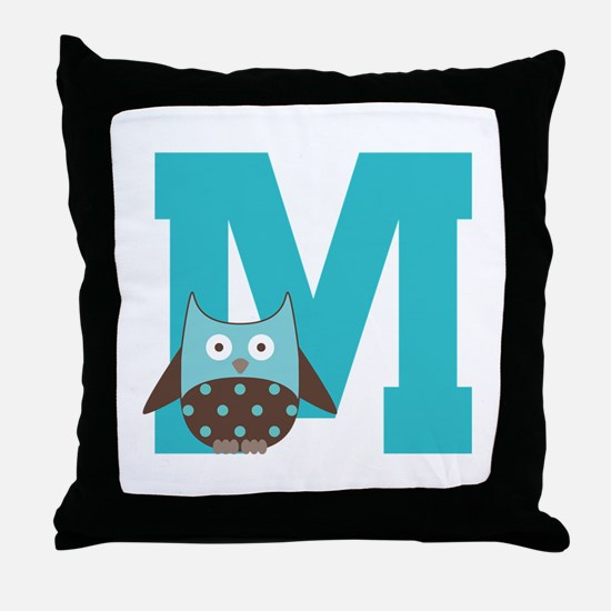 Letter M Monogram Initial Owl Throw Pillow