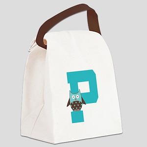 Letter P Monogram Initial Owl Canvas Lunch Bag