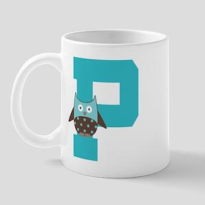 Letter P Monogram Initial Owl Mug
