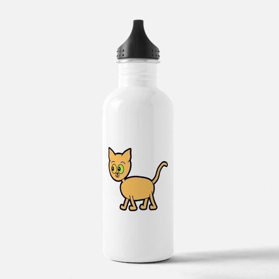 Odd Eyed Ginger Cat. Water Bottle