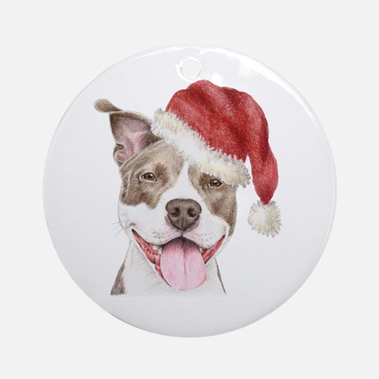 Christmas Pit Bull Terrier Ornament (Round)