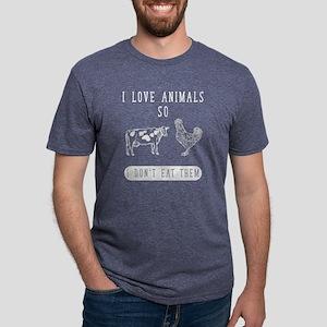 I love animals so I don&#39 Mens Tri-blend T-Shirt