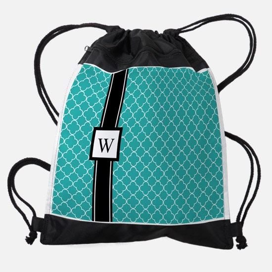 Teal Black Quatrefoil Monogram Drawstring Bag