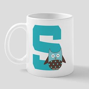 Letter S Monogram Initial Owl Mug