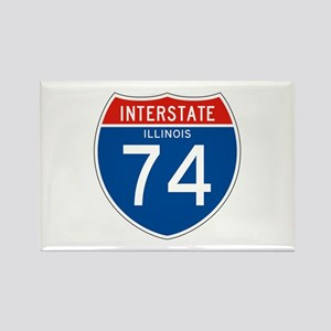 Interstate 74 - IL Rectangle Magnet