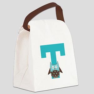Letter T Monogram Initial Owl Canvas Lunch Bag