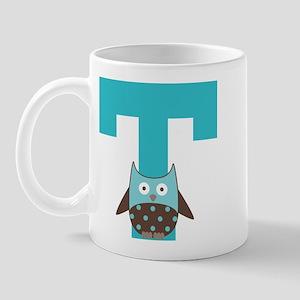 Letter T Monogram Initial Owl Mug