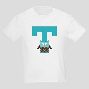 Letter T Monogram Initial Owl Kids Light T-Shirt