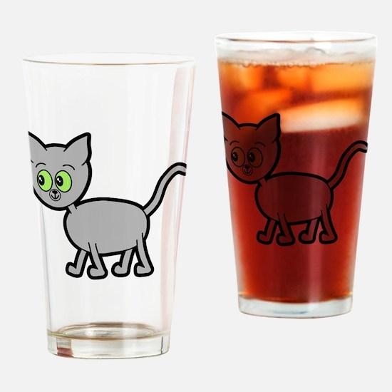 Green Eyed Gray Cat. Drinking Glass