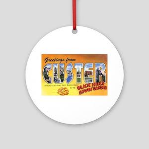 Custer South Dakota Greetings Ornament (Round)