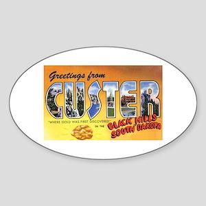 Custer South Dakota Greetings Oval Sticker