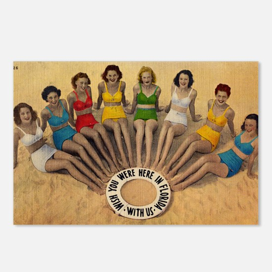 Retro Beach Beauties Postcards (Package of 8)