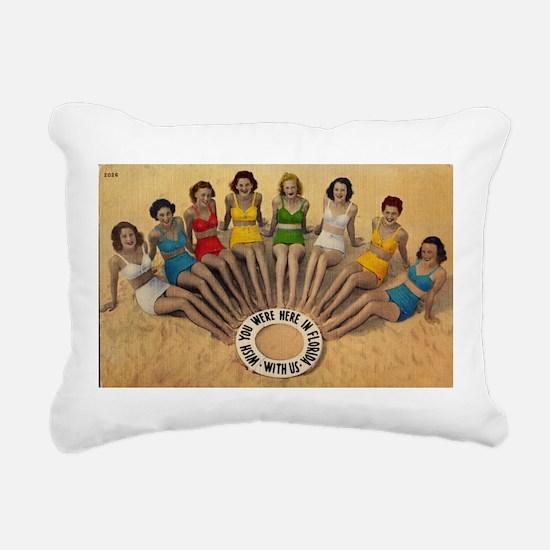 Retro Beach Beauties Rectangular Canvas Pillow