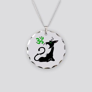 Om Cat Circle Necklace Circle Charm