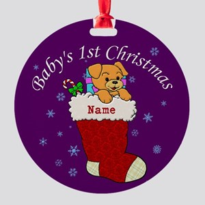 Babys 1st Christmas Round Ornament