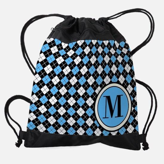 Argyle Pattern Black Blue and White Drawstring Bag