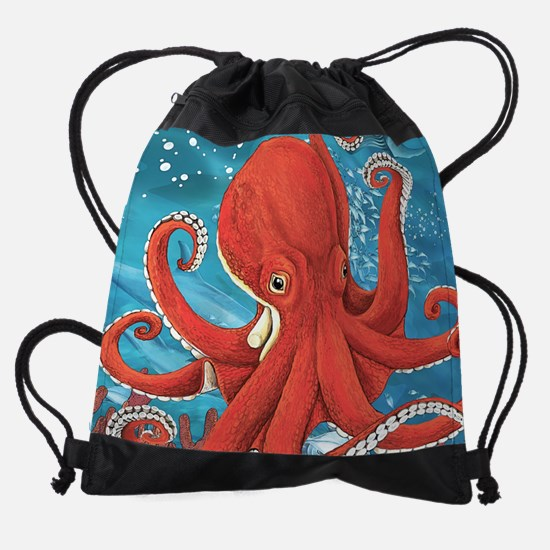 Octopus Painting Drawstring Bag
