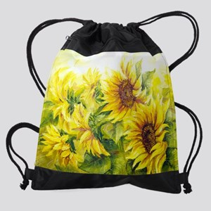 Sunflowers Oil Painting Drawstring Bag