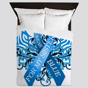 I Wear Blue for my Sister Queen Duvet