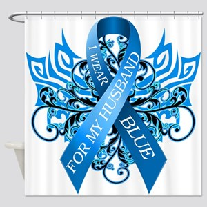 I Wear Blue for my Husband Shower Curtain