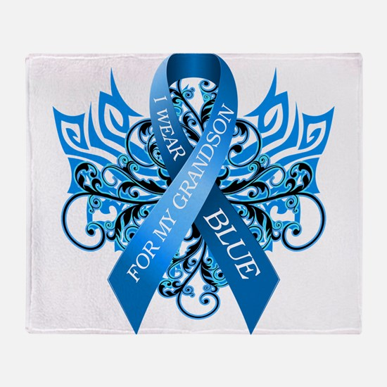 I Wear Blue for my Grandson Throw Blanket