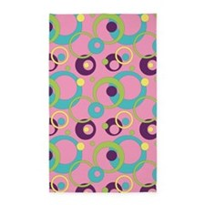 Funky Pink Circles 3'x5' Area Rug
