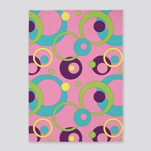 Funky Pink Circles 5'x7'Area Rug