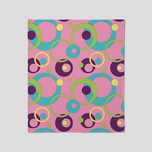 Funky Pink Circles Throw Blanket