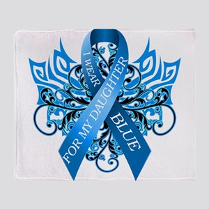 I Wear Blue for my Daughter Throw Blanket