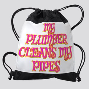 My Plumber Cleans My Pipes Drawstring Bag